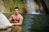 Attractive Young Muscleman In Water Pond
