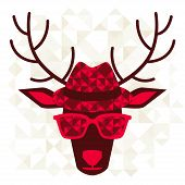 foto of deer horn  - Print with deer in hipster style - JPG
