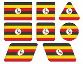 Buttons With Flag Of Uganda