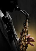 stock photo of saxophone player  - Playing the saxophone  - JPG