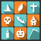 Halloween flat vector icons with long shadow.