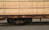 Lumber Loaded Railroad Car Transportation Boxcar Contruction Material