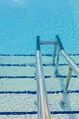 Swimming Pool And The Chrome Ladder