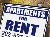 stock photo of eviction  - For rent sign in front of apartment building - JPG