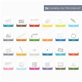 Files type icons set with colorful ribbons