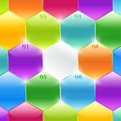 Colorful polyhedrons (banners) with figures, numbers