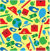 Seamless Pattern Of School Supplies