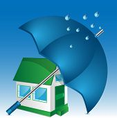 Illustration Of House And Umbrella On A Blue Background