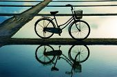 Bicycle Refect On Water Surface At Sunset