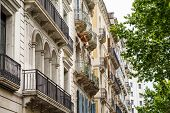 Many Iron Railings On Old Barcelona Buildings