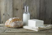 Fresh Feta Cheese With Bottle Of Milk And Bread