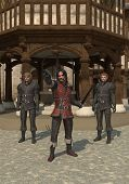 image of guardsmen  - Guards on the streets of a Medieval town - JPG