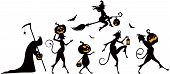 pic of parade  - Vector silhouettes of a parade on Halloween - JPG