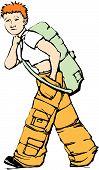 Walking Girl In Cargo Pants