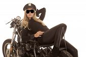 Woman Cop Motorcycle Lay Back