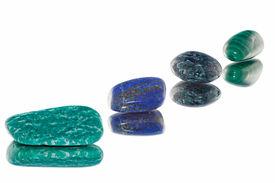 foto of lapis lazuli  - Strung on stones from left to right: Amazonite lapis with pyrite apatite malachite - JPG
