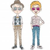 Vector Funny Cartoon Hipster Boys