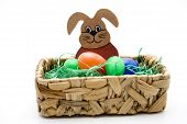 Easter eggs with wooden hare