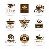 Coffee, espresso, hot chocolate and tea icon set.
