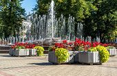 Fountain In Kronvalda Park. Located In The Centre Of Riga, The Capital Of Latvia