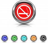 No Smoking Icon - Six Colors Vector Set