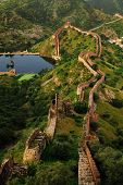 Great wall around Amber forth in Jaipur, pink city in Rajasthan, north India