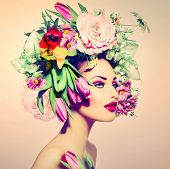 stock photo of flower girl  - Spring Woman - JPG