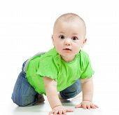 stock photo of crawl  - funny baby girl crawling isolated on white - JPG