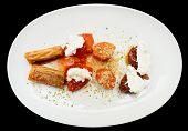 pic of phyllo dough  - Turkish desserts on plate - JPG