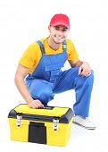 Male worker with toolbox isolated on white