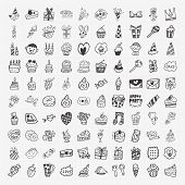 100 Doodle Birthday Party Icons Set