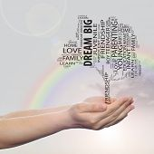 Concept or conceptual black education text word cloud or tagcloud as a tree on man or woman hand on rainbow sky  background