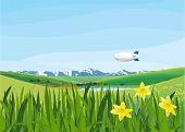 landscape with blimp