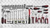 Many Tools on metal background