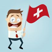 happy cartoon man with Swiss flag