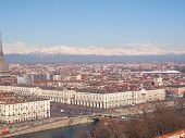 foto of turin  - Turin skyline seen from the hills surrounding the city - JPG