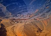 image of iron ore  - Production of iron ore in quarry by open way the overall look.