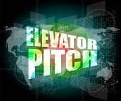 foto of elevator  - elevator pitch words on touch screen interface - JPG