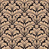 Seamless pattern of beige floral arabesque motifs