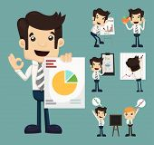 image of graphs  - Set of businessman characters presentation graph eps10 vector format - JPG