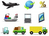Logistic And Transportation Icon Collection Set