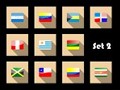 International country flags set on flat icons