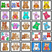 Stamps with teddy bears