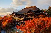 Main hall of Kiyoizu-dera Temple with Autumn Ambience in Kyoto