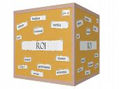 Roi 3D Cube Corkboard Word Concept