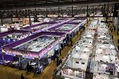 Top View Of People And Booths At Mido 2014 In Milan, Italy