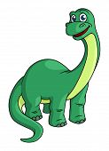 Adorable green cartoon dinosaur mascot