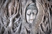 image of stone sculpture  - Ayutthaya Historical Park in Thailand  - JPG