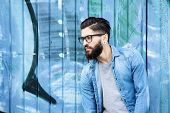 Male Fashion Model With Beard And Glasses