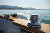 picture of bollard  - bollard on a touristic yacht in a sunny day - JPG